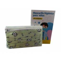 Mascarilla Higienica 3 capas infantil perritos verde