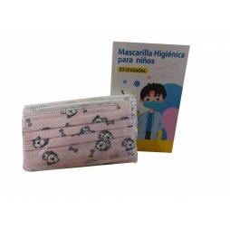Mascarilla Higiénica 3 Capas Infantil Rosa Perritos